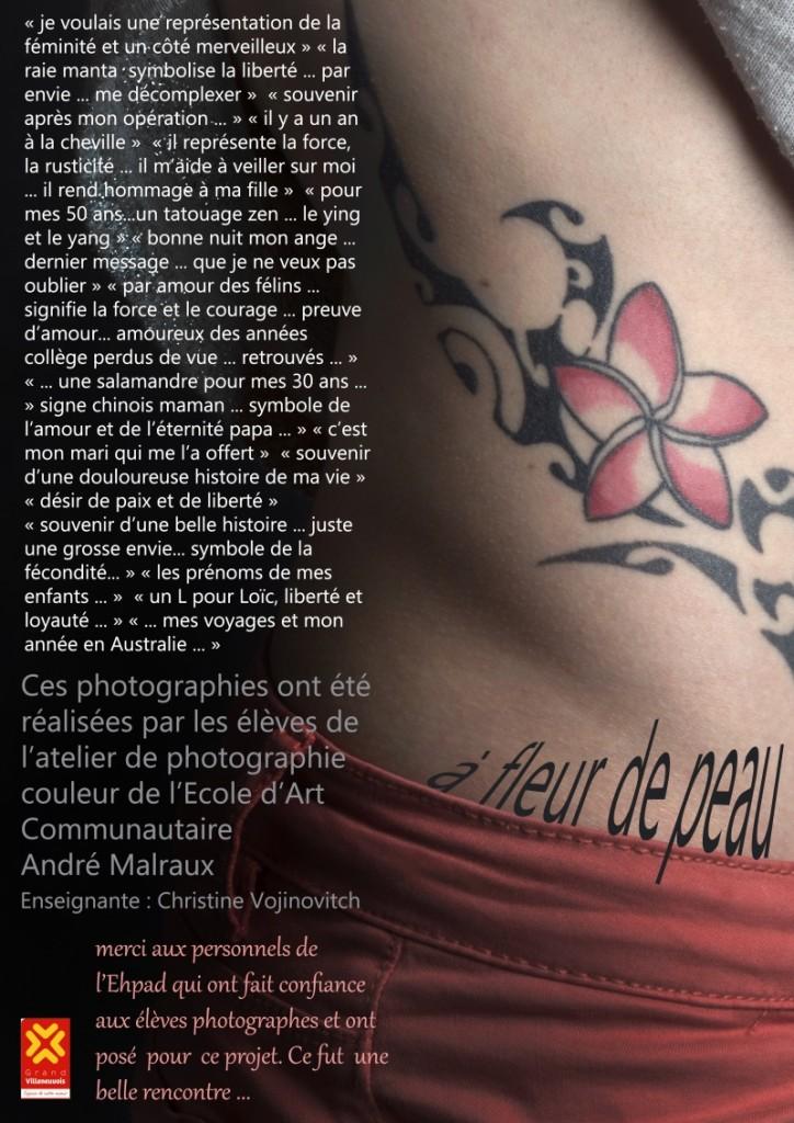 affiche de l'exposition A Fleur De Peau (EHPAD de Villeneuve sur Lot Mai 2017)
